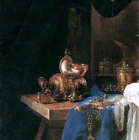 Виллем Кальф, Натюрморт с оружием, фрагмент «Шкатулка с украшениями»