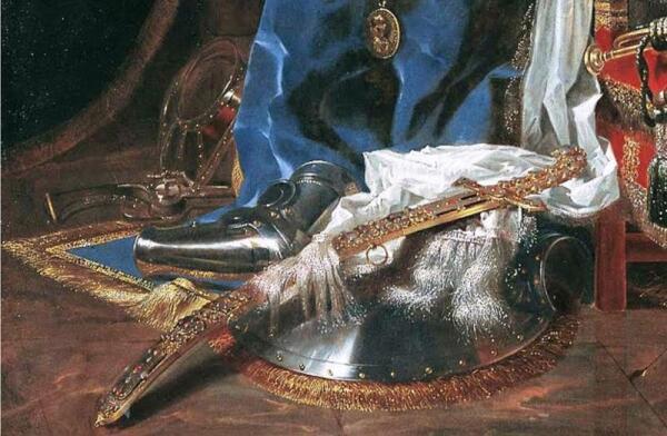 Виллем Кальф, Натюрморт с оружием, фрагмент «Шит и  оружие»