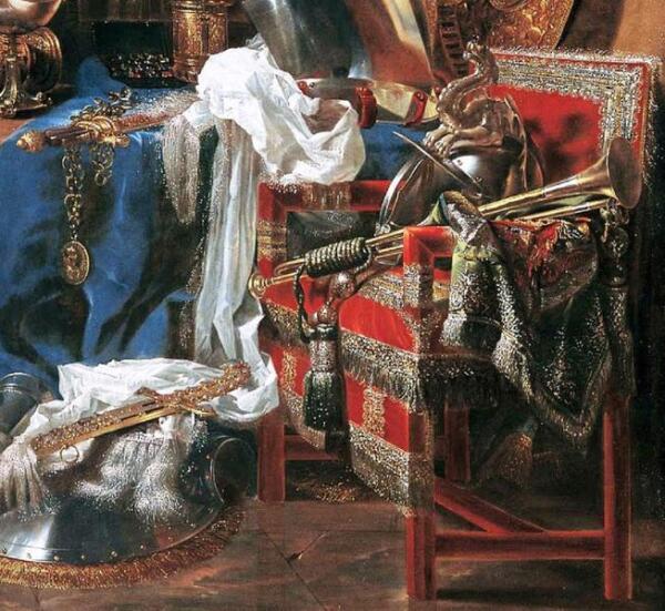 Виллем Кальф, Натюрморт с оружием, фрагмент