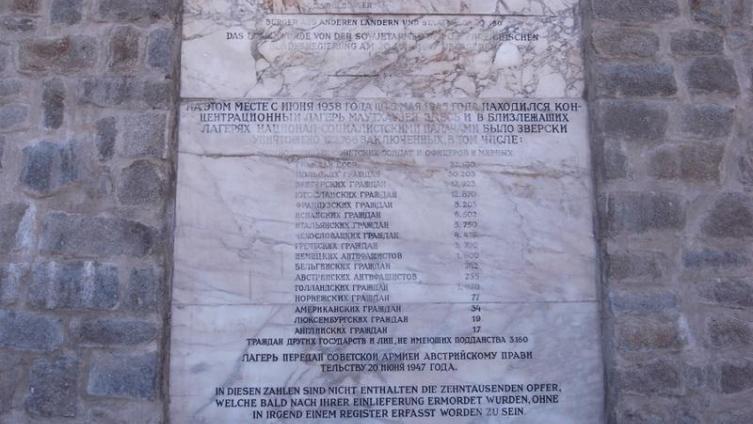 Мемориальная доска на главных воротах бывшего концентрационного лагеря Маутхаузен с данными о  погибших
