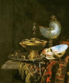 Виллем Кальф, Роскошный натюрморт с сахарницей Гольбейна, кубком из наутилуса и тарелкой с фруктами, 1678, 63х56 см, Государственная галерея искусств, Копенгаген, Дания
