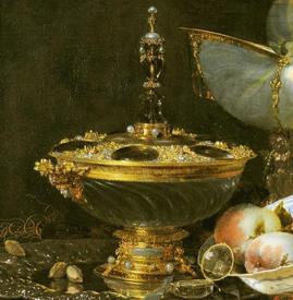 Виллем Кальф, Роскошный натюрморт с сахарницей Гольбейна, кубком из наутилуса и тарелкой с фруктами, фрагмент «Сахарница Гольбейна»