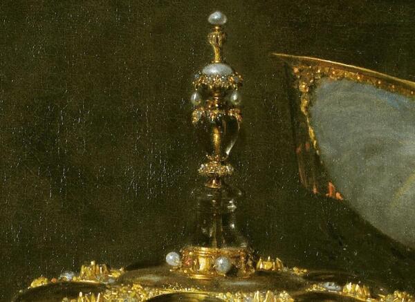 Виллем Кальф, Роскошный натюрморт с сахарницей Гольбейна, кубком из наутилуса и тарелкой с фруктами, фрагмент «Навершие крышки»