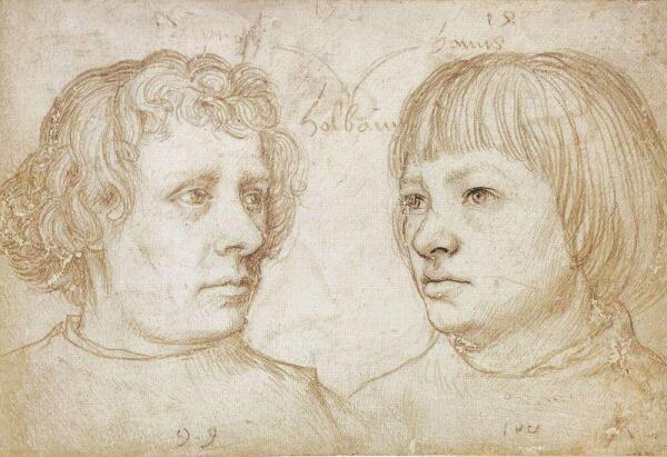 Ганс Гольбейн Младший, портрет Амброзиуса и Ганса, 10х15 см, 1511, Государственные музеи Берлина, Германия