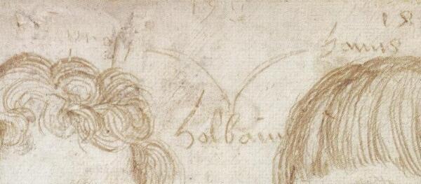 Ганс Гольбейн Младший, портрет Амброзиуса и Ганса, фрагмент «Автограф художника»