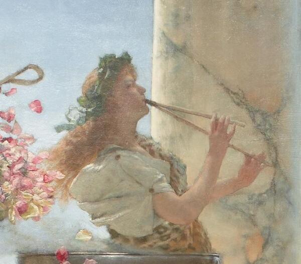 Альма-Тадема сэр Лоуренс, Розы Гелиогабала, фрагмент «Флейтистка»