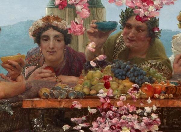 Альма-Тадема сэр Лоуренс, Розы Гелиогабала, фрагмент «Маеса» (слева)