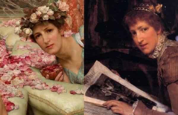 Альма-Тадема сэр Лоуренс, Розы Гелиогабала, фрагмент «Гостья» (справа— портрет Лауры Альма-Тадема)