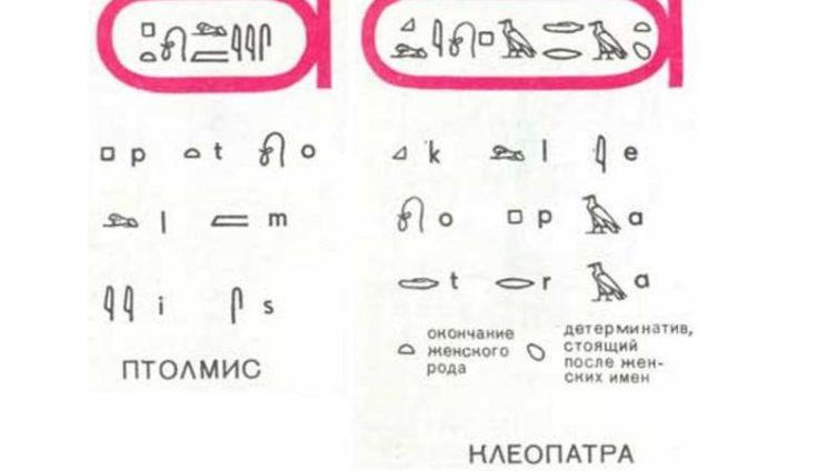 Греческие имена Птолемей и Клеопатра записывались древнеегипетскими писцами в виде ребусов