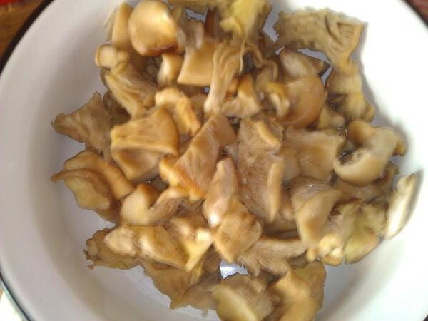 Для грибов в сметане вешенки нарезать помельче