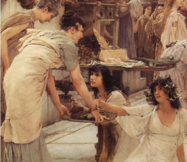 Альма-Тадема сэр Лоуренс, Женщины Амфисы, фрагмент «Еда»