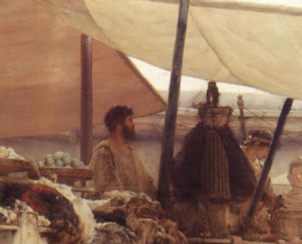 Альма-Тадема сэр Лоуренс, Женщины Амфисы, фрагмент «Мужчины на рынке»