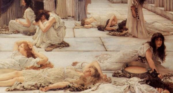 Альма-Тадема сэр Лоуренс, Женщины Амфисы, фрагмент «Тяжелое пробуждение»