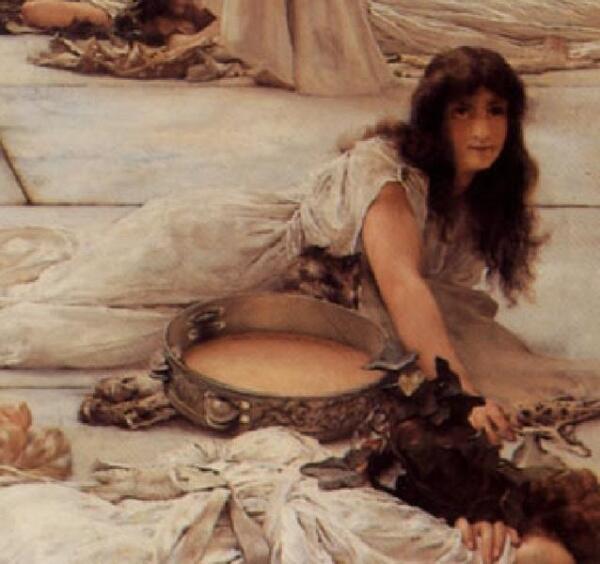 Альма-Тадема сэр Лоуренс, Женщины Амфисы, фрагмент «Бубен – непременная принадлежность вакханалий»