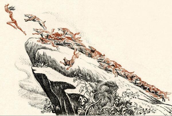 Маугли удирает от рыжих псов.