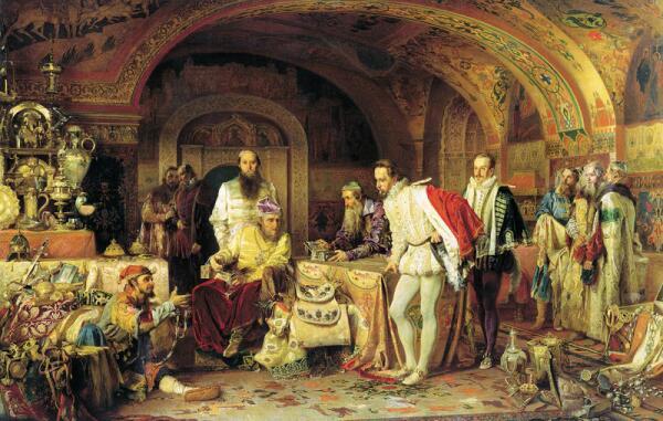 Иоанн Грозный показывает свои сокровища английскому послу Горсею
