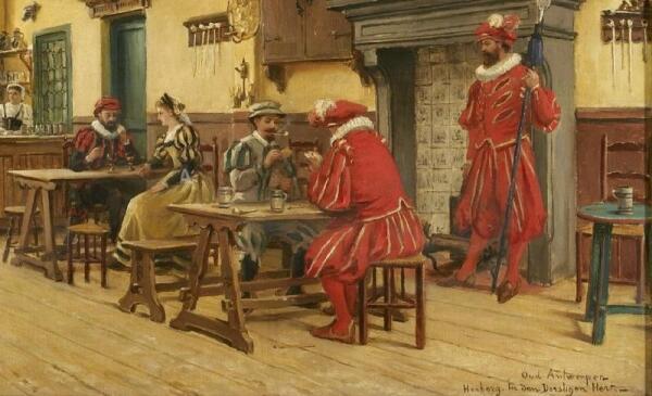 Констан Кэп, Старый постоялый двор «Пьющий олень» в Антверпене, фрагмент «Игроки в карты»