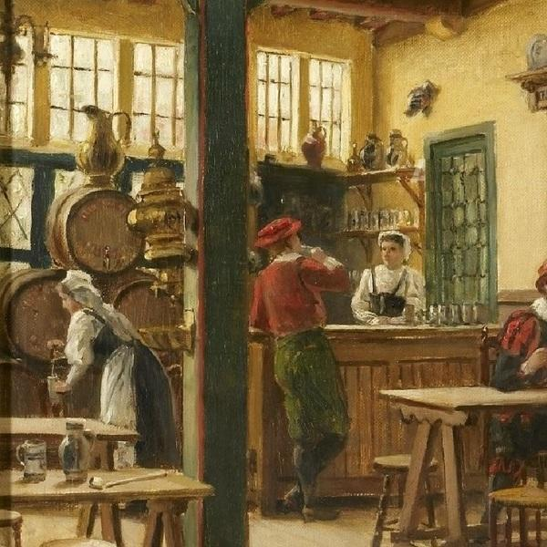 Констан Кэп, Старый постоялый двор «Пьющий олень» в Антверпене, фрагмент «Стойка»
