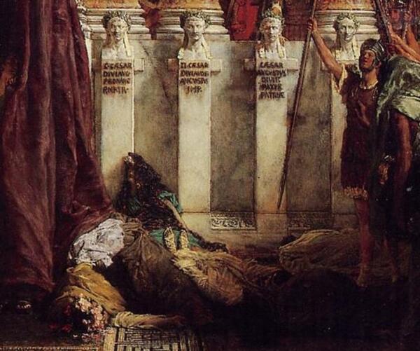 Альма Тадема сэр Лоуренс, Да здравствует император! Ликуй, народ! Фрагмент «Калигула с женой и дочерью»