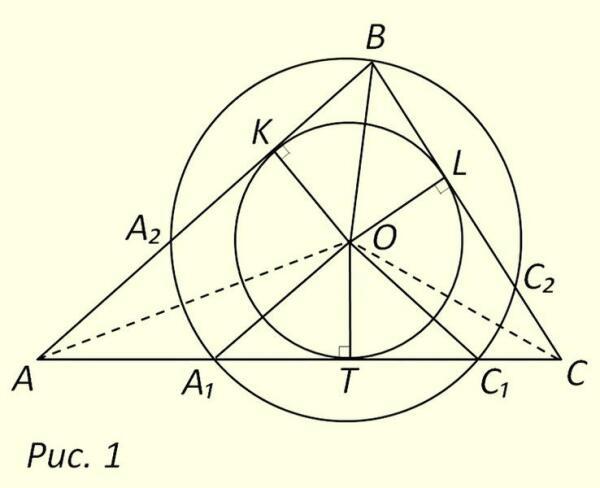 Определение местоположений точек касания вписанной окружности