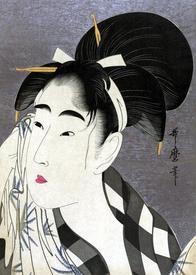 Японская прическа на картине Китагавы Утамаро.