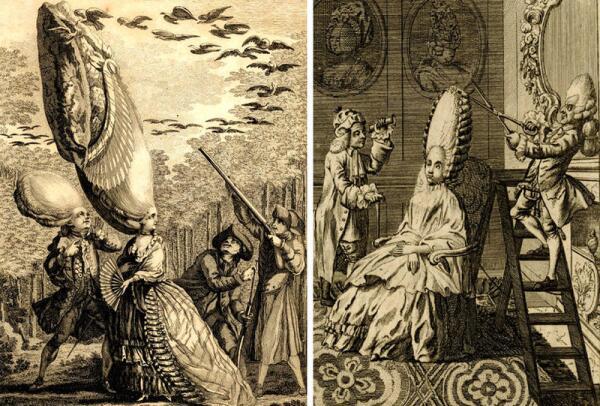 Карикатуры на парики 1770-х годов.