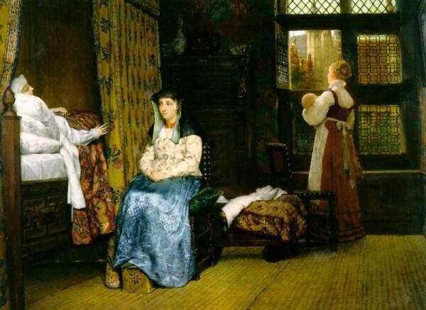 Альма-Тадема сэр Лоуренс, Родильная комната, семнадцатый век, 1868, 49x65 см, Victoria and Albert Museum, Англия