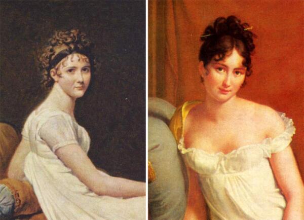 Мадам Рекамье на портрете Давида 1800 г. и на портрете Жерара 1802 г.