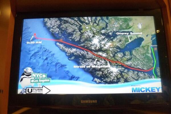 Вот так выглядит наш маршрут на карте, Фото сделано в каюте с экрана монитора