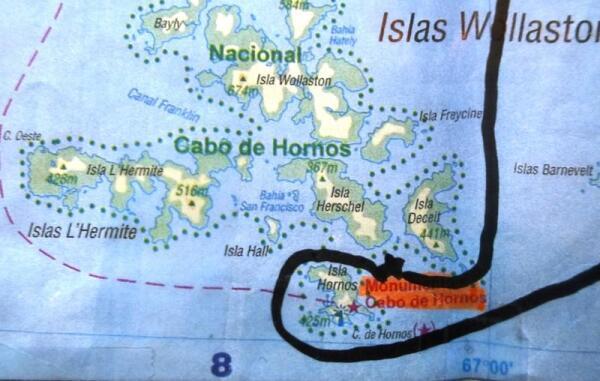 Маршрут нашего судна на карте