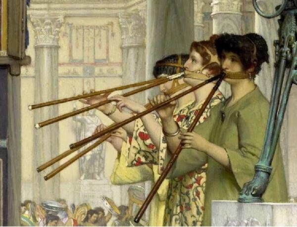 Альма-Тадема сэр Лоуренс, The vintage Festival, фрагмент «Уздечки флейтисток»