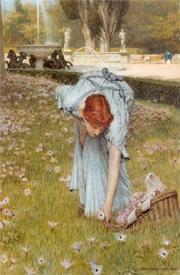 Альма-Тадема сэр Лоуренс, Весна в садах виллы Боргезе, 30х20 см, 1877, частная коллекция