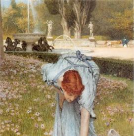 Альма-Тадема сэр Лоуренс, Весна в садах виллы Боргезе, фрагмент «Фонтан, женщины на скамейке»