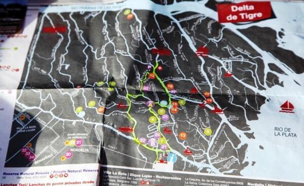 Карта дельты реки Парана в районе города Тигре