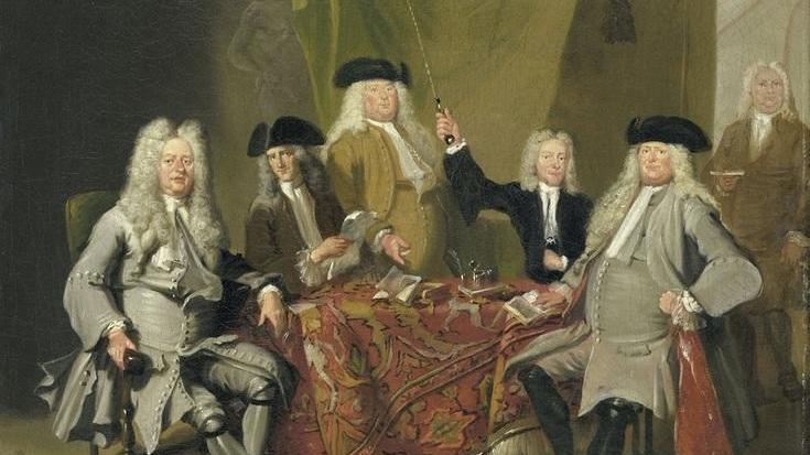 Корнелис Трост, Инспектора медицинской коллегии Амстердама, 1724, 40х49 см, Rijksmuseum, Амстердам, Нидерланды