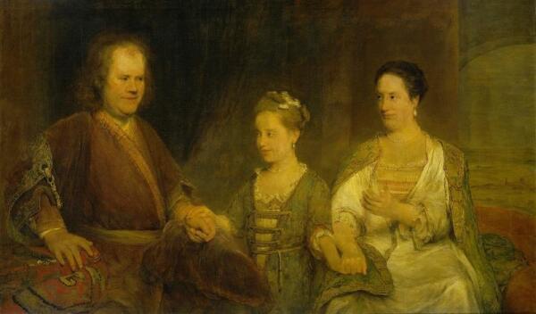 Аэрт де Гелдер, Портрет Германа Бургаве с женой Марией Дроленво и дочерью Иоганной Марией, 104х173 см, 1720, Rijksmuseum, Амстердам, Нидерланды