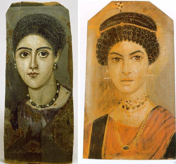 Портреты из египетского Фаюма времён римского владычества (I-III в.)