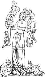 Модница. Из рукописи XIV века.