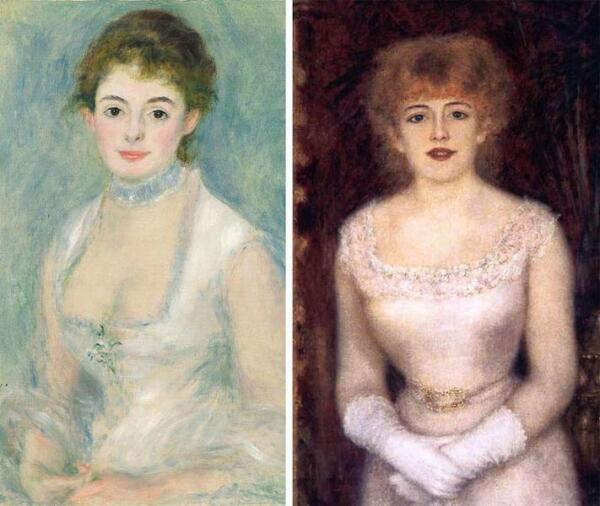 Мадам Анрио и актриса Жанна Самари на портретах Ренуара (1876, 1878).