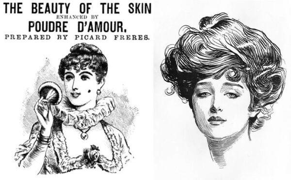 Слева - реклама пудры 1888 г.; справа - т.н.