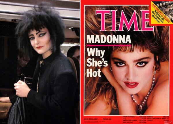 Певицы 1980-х: панк-звезда Сьюзи Сью и поп-звезда Мадонна.