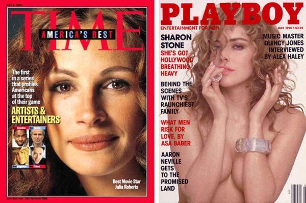 Кинозвёзды 1990-х: Джулия Робертс и Шэрон Стоун.