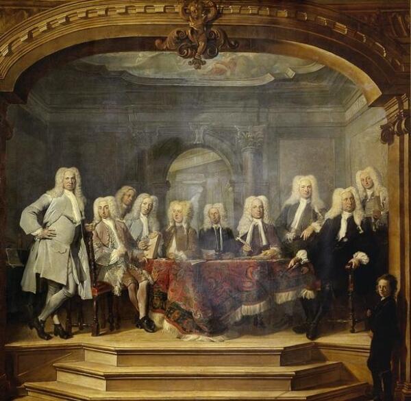Корнелис Трост, Регенты католического детского дома в Амстердаме, 1729, 414х417 см, Rijksmuseum, Амстердам, Нидерланды