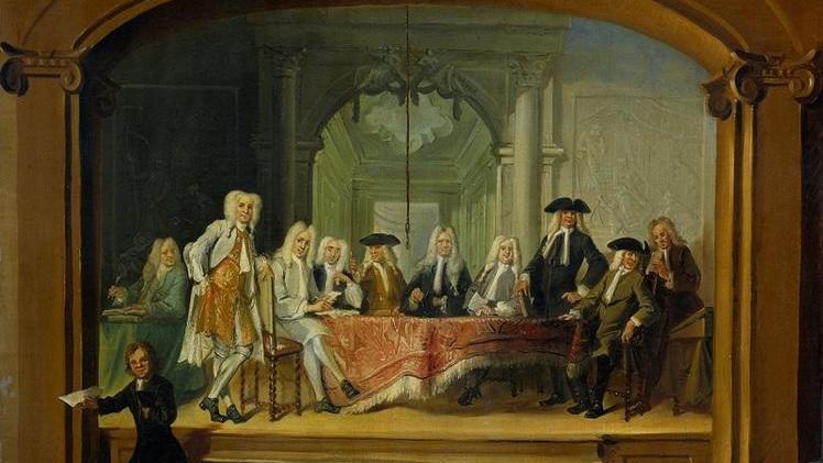 Корнелис Трост, Регенты католического детского дома в Амстердаме, 1729, 92х114 см, Rijksmuseum, Амстердам, Нидерланды