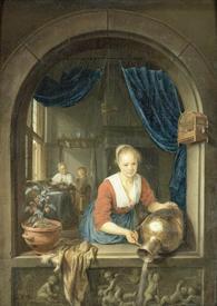 Герард Доу, Девушка у окна, 38х28, 1660,Музей Бойманса-ван Бёнингена, Роттердам, Нидерланды
