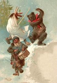 Вождение медведя с козой и барабанщиком на Святки (1908).