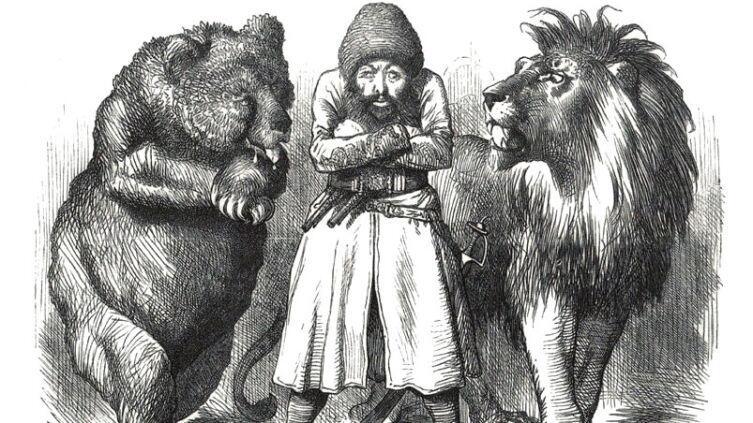 Карикатура времён «Большой игры» в Средней Азии между Россией и Великобританией.