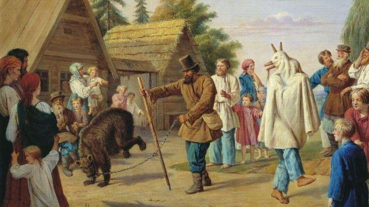 Ф. Н. Рисс. Скоморохи в деревне. 1857.