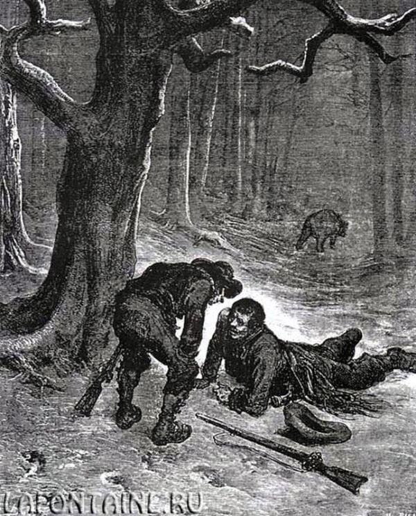 Иллюстрация к басне «Медведь и два охотника».