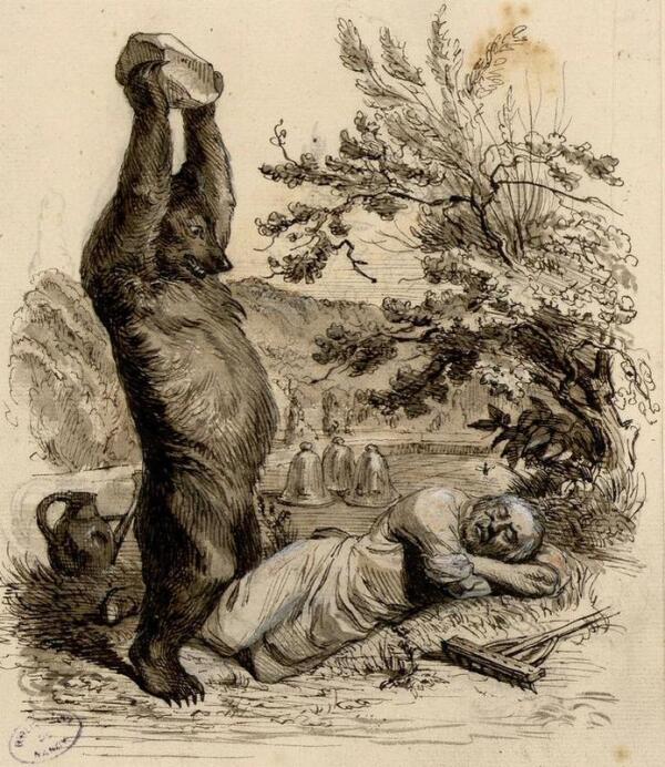 Иллюстрация к басне «Пустынник и Медведь».